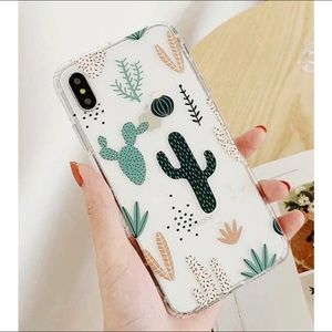 Accessories - Cactus Print Green & Pink Clear iPhone Case
